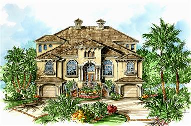 3-Bedroom, 3666 Sq Ft Mediterranean House Plan - 175-1233 - Front Exterior