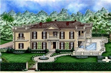 3-Bedroom, 4143 Sq Ft Coastal House Plan - 175-1234 - Front Exterior