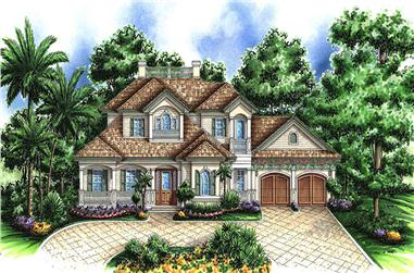 3-Bedroom, 4587 Sq Ft Florida Style House Plan - 175-1235 - Front Exterior