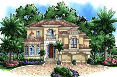2-Bedroom, 4596 Sq Ft Coastal Home Plan - 175-1236 - Main Exterior