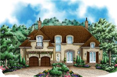 4-Bedroom, 4687 Sq Ft Colonial House Plan - 175-1237 - Front Exterior