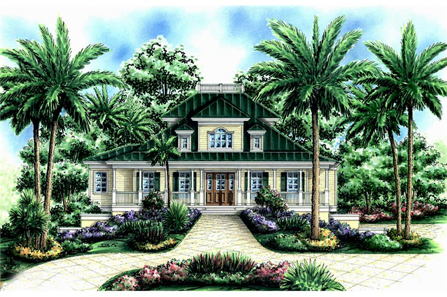 Front elevation of Coastal home (ThePlanCollection: House Plan #175-1240)