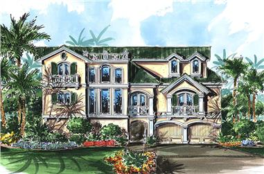 Front elevation of Coastal home (ThePlanCollection: House Plan #175-1241)