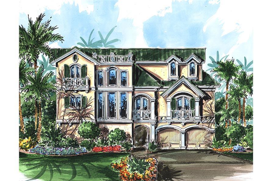 4-Bedroom, 4118 Sq Ft Coastal Home Plan - 175-1241 - Main Exterior