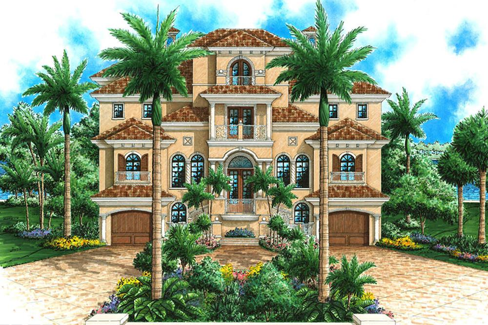 Front elevation of Mediterranean home (ThePlanCollection: House Plan #175-1242)
