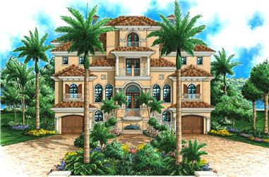 4-Bedroom, 6137 Sq Ft Mediterranean Home Plan - 175-1242 - Main Exterior