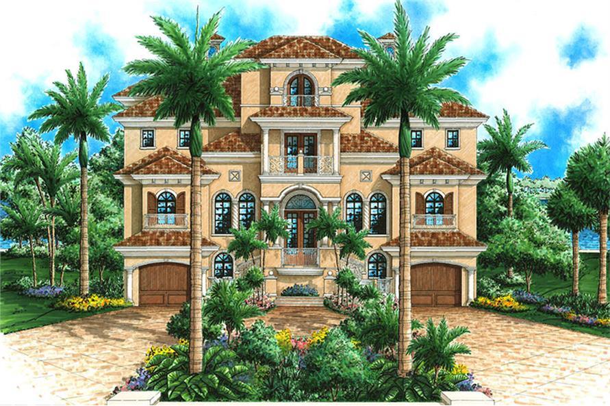 4-Bedroom, 6137 Sq Ft Mediterranean Home Plan - 175-1242 - Main Exterior