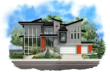 Color rendering of Modern home plan (ThePlanCollection: House Plan #175-1244)