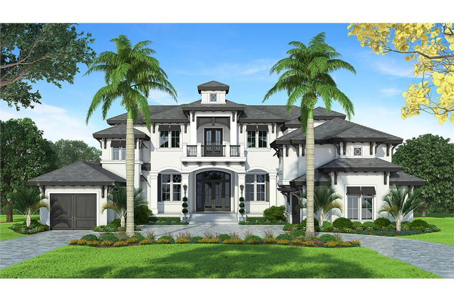 Color rendering of Mediterranean home plan (ThePlanCollection: House Plan #175-1245)