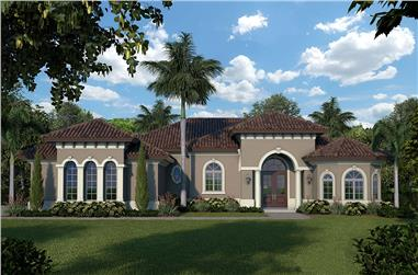 3-Bedroom, 1526 Sq Ft Mediterranean Home Plan - 175-1249 - Main Exterior