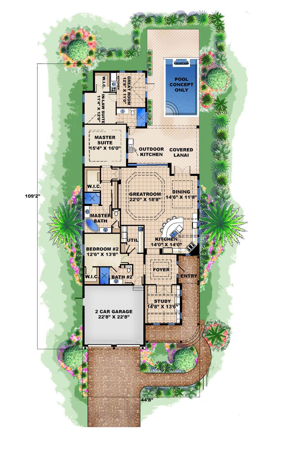 Coastal Home Plan 3 Bedrms 3 Baths 2972 Sq Ft 175 1250