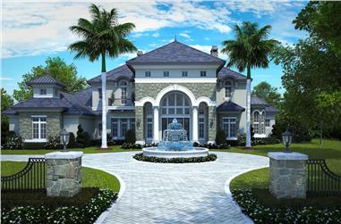 4-Bedroom, 6549 Sq Ft French Home Plan - 175-1254 - Main Exterior
