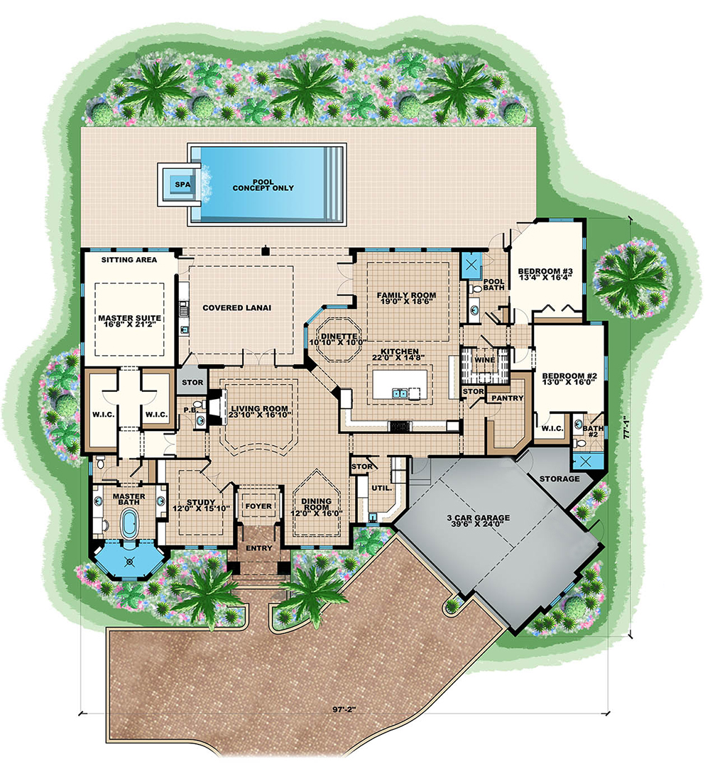 Floor Planning Tools In Asic: 3 Bedrm, 4120 Sq Ft Traditional House Plan #175-1255