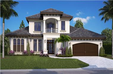 Front elevation of Mediterranean home plan (ThePlanCollection: House Plan #175-1257)