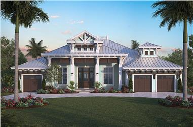 Front elevation of Florida Style home plan (ThePlanCollection: House Plan #175-1258)