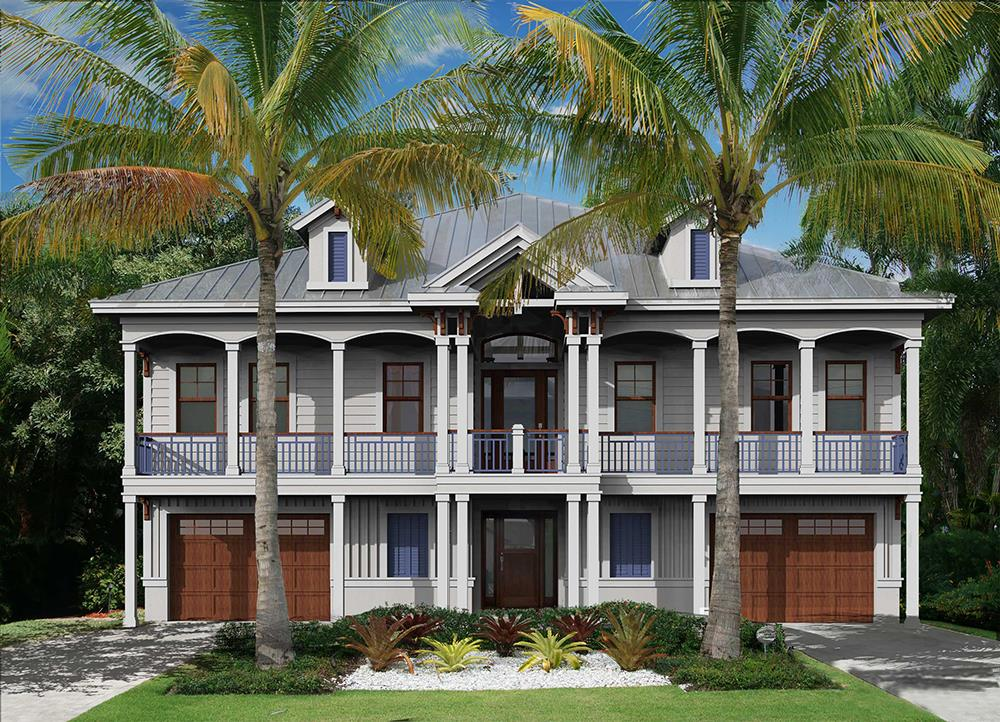 Front elevation of Coastal home plan (ThePlanCollection: House Plan #175-1259)