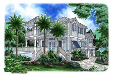 Front elevation of Beachfront home plan (ThePlanCollection: House Plan #175-1260)