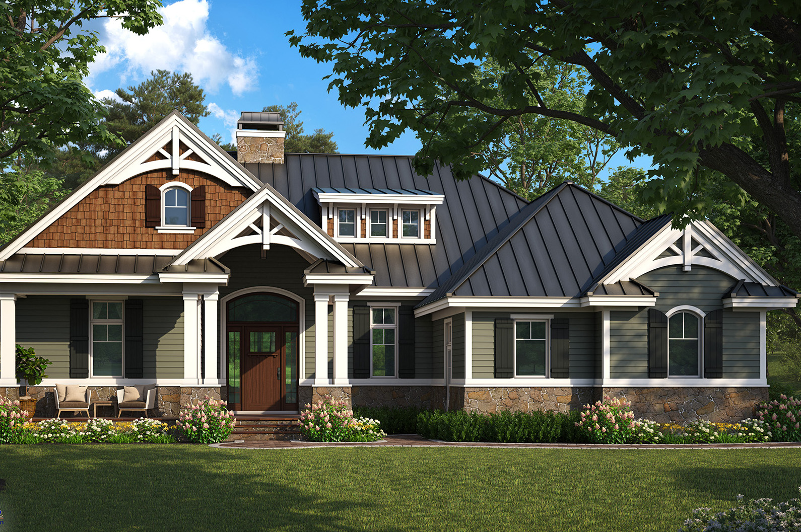 Craftsman home plan 2 bedrms 2 baths 1610 sq ft for Custom craftsman house plans