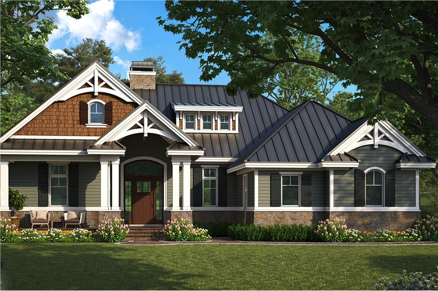 Color rendering of Craftsman home plan (ThePlanCollection: House Plan #175-1261)