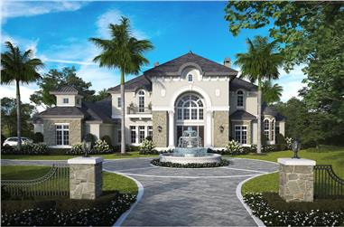 4-Bedroom, 6549 Sq Ft French House Plan - 175-1264 - Front Exterior