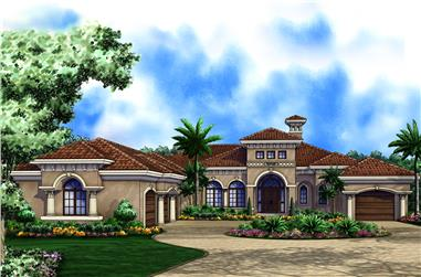 4-Bedroom, 5128 Sq Ft Mediterranean House Plan - 175-1265 - Front Exterior