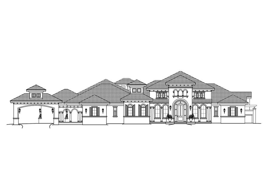 Home Plan Front Elevation of this 4-Bedroom,4403 Sq Ft Plan -175-1266
