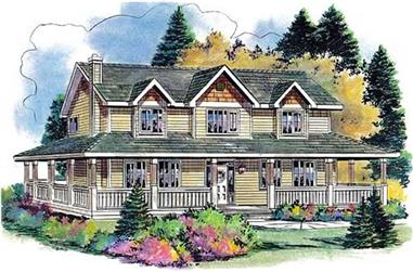 Front elevation of Country home (ThePlanCollection: House Plan #176-1001)