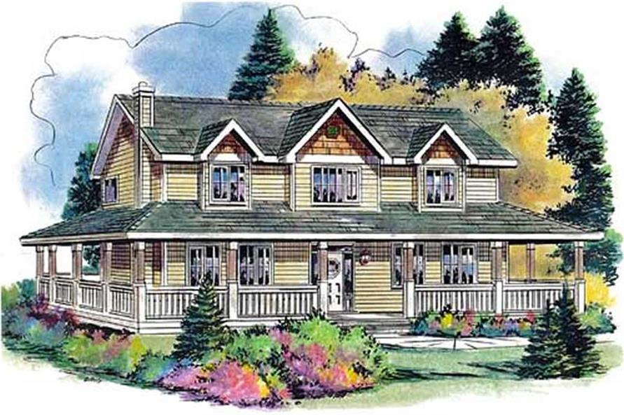 5-Bedroom, 2388 Sq Ft Country Home Plan - 176-1001 - Main Exterior