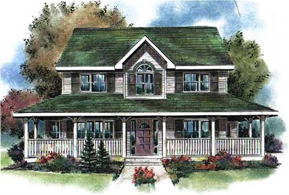 Front elevation of Colonial home (ThePlanCollection: House Plan #176-1005)