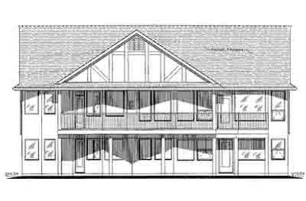176-1007 house plan rear elevation