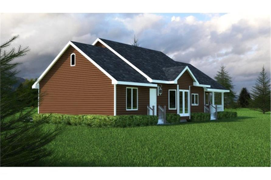 Home Plan Rear Elevation of this 3-Bedroom,1412 Sq Ft Plan -176-1012