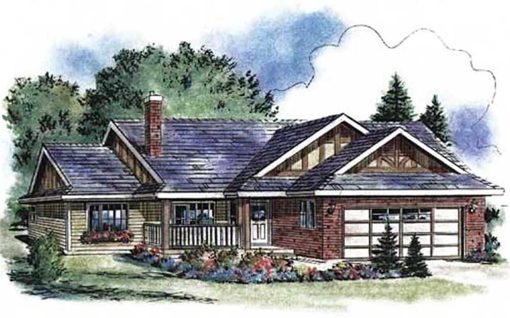 Front elevation of Ranch home (ThePlanCollection: House Plan #176-1013)