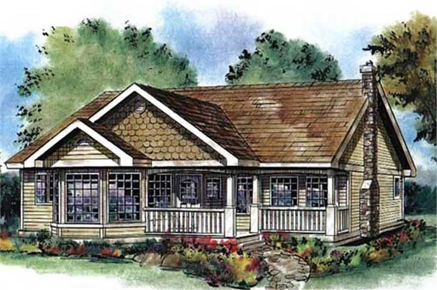 3-Bedroom, 1368 Sq Ft Country Home Plan - 176-1014 - Main Exterior