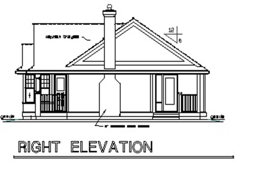 Home Plan Right Elevation of this 2-Bedroom,925 Sq Ft Plan -176-1015