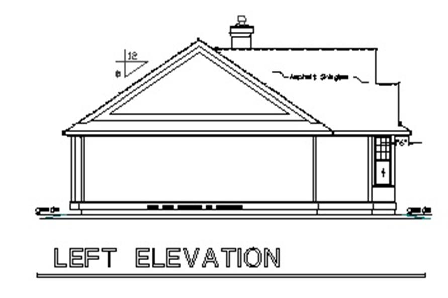 Home Plan Left Elevation of this 2-Bedroom,925 Sq Ft Plan -176-1015