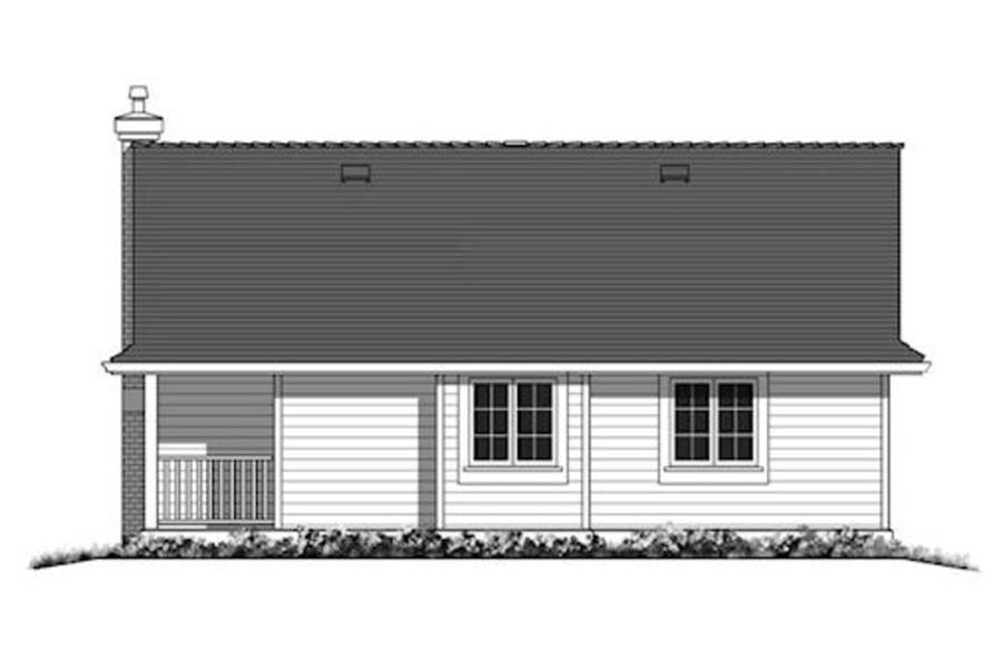 Home Plan Rear Elevation of this 2-Bedroom,925 Sq Ft Plan -176-1015