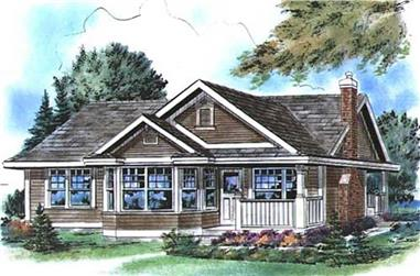 2-Bedroom, 925 Sq Ft Country Home Plan - 176-1015 - Main Exterior