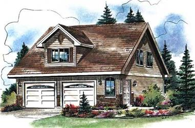2-Bedroom, 569 Sq Ft Garage Home Plan - 176-1017 - Main Exterior