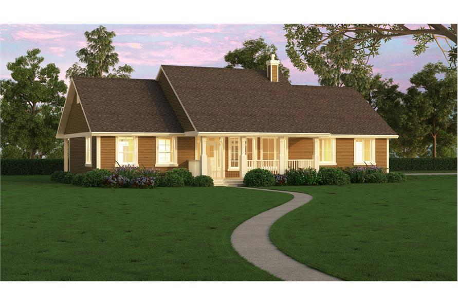 176-1019: Home Plan Rendering-Porch
