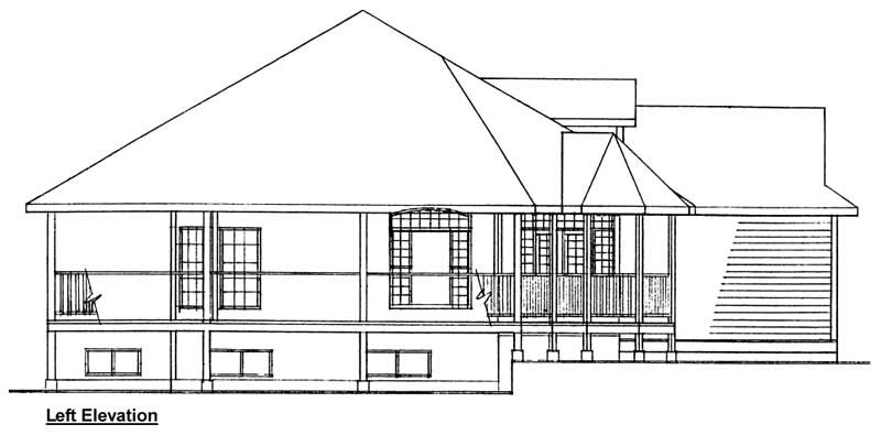 ELEV_LRWP-1940-L  Bedroom Sq Ft House Plan on 350 sq ft 1 bedroom, 500 sq ft 1 bedroom, 1000 sq ft living room,