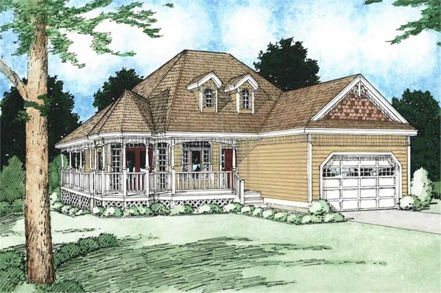 Front elevation of Bungalow home (ThePlanCollection: House Plan #177-1000)
