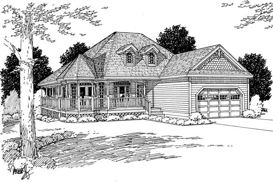 Home Plan Front Elevation of this 3-Bedroom,1506 Sq Ft Plan -177-1000
