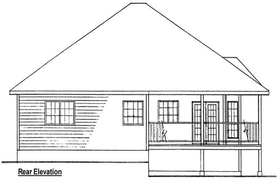 Home Plan Rear Elevation of this 3-Bedroom,1506 Sq Ft Plan -177-1000