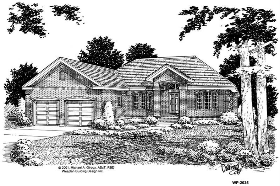 Home Plan Front Elevation of this 3-Bedroom,1493 Sq Ft Plan -177-1001