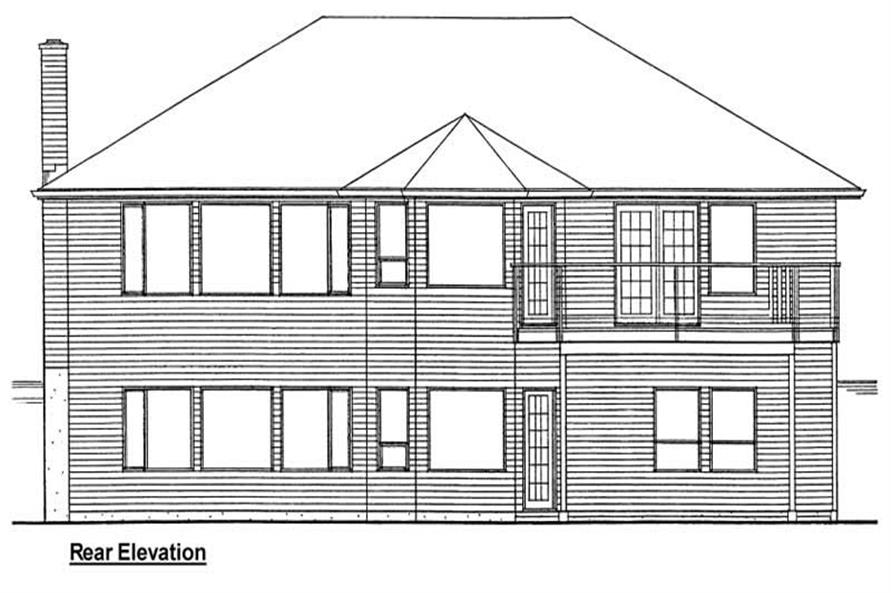 Home Plan Rear Elevation of this 3-Bedroom,1493 Sq Ft Plan -177-1001