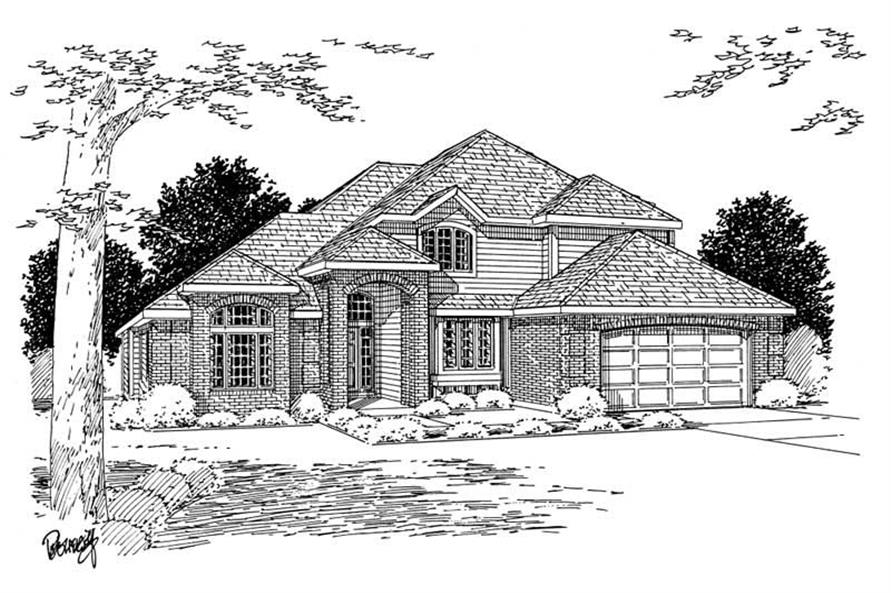 Home Plan Front Elevation of this 3-Bedroom,2423 Sq Ft Plan -177-1002