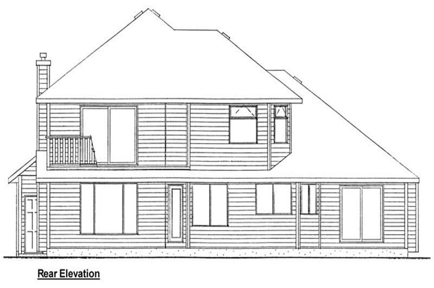 Home Plan Rear Elevation of this 3-Bedroom,2423 Sq Ft Plan -177-1002