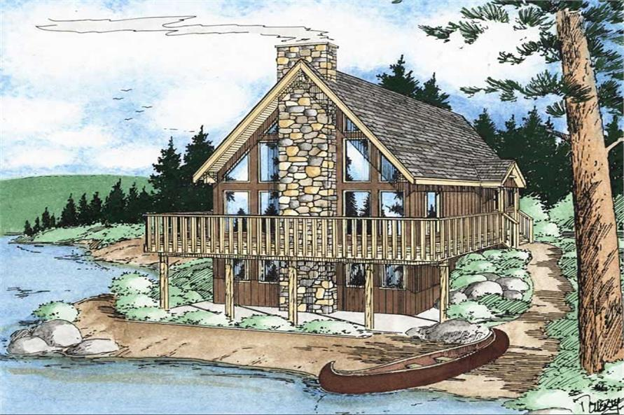1-Bedroom, 1702 Sq Ft Log Cabin Home Plan - 177-1005 - Main Exterior
