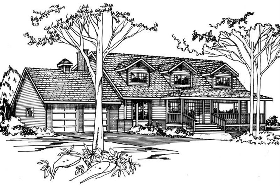 Home Plan Front Elevation of this 4-Bedroom,2370 Sq Ft Plan -177-1011
