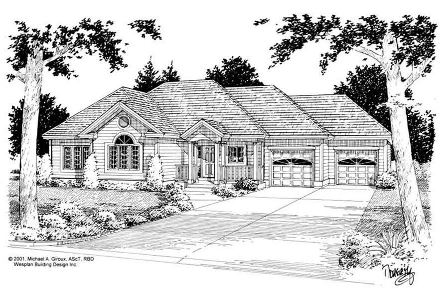Home Plan Front Elevation of this 3-Bedroom,1407 Sq Ft Plan -177-1017